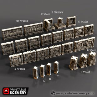 Gothic Spaceship Walls Printable