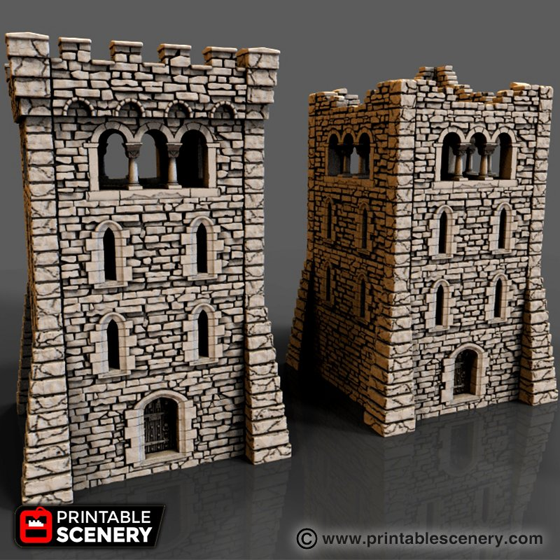 Large Square Castle Tower Levels Printable
