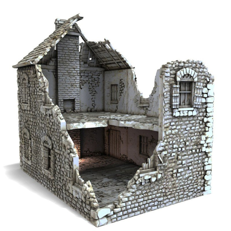 French Farmhouse In Ruins Printable Scenery