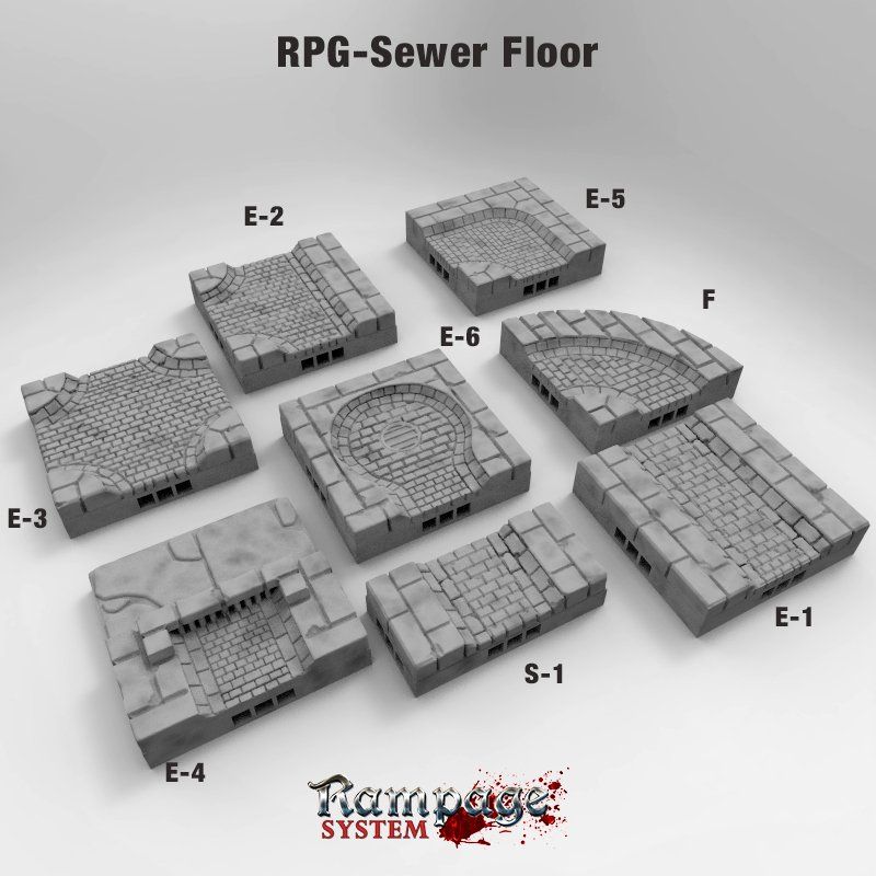 Sewer floor 3d printed openlock tiles
