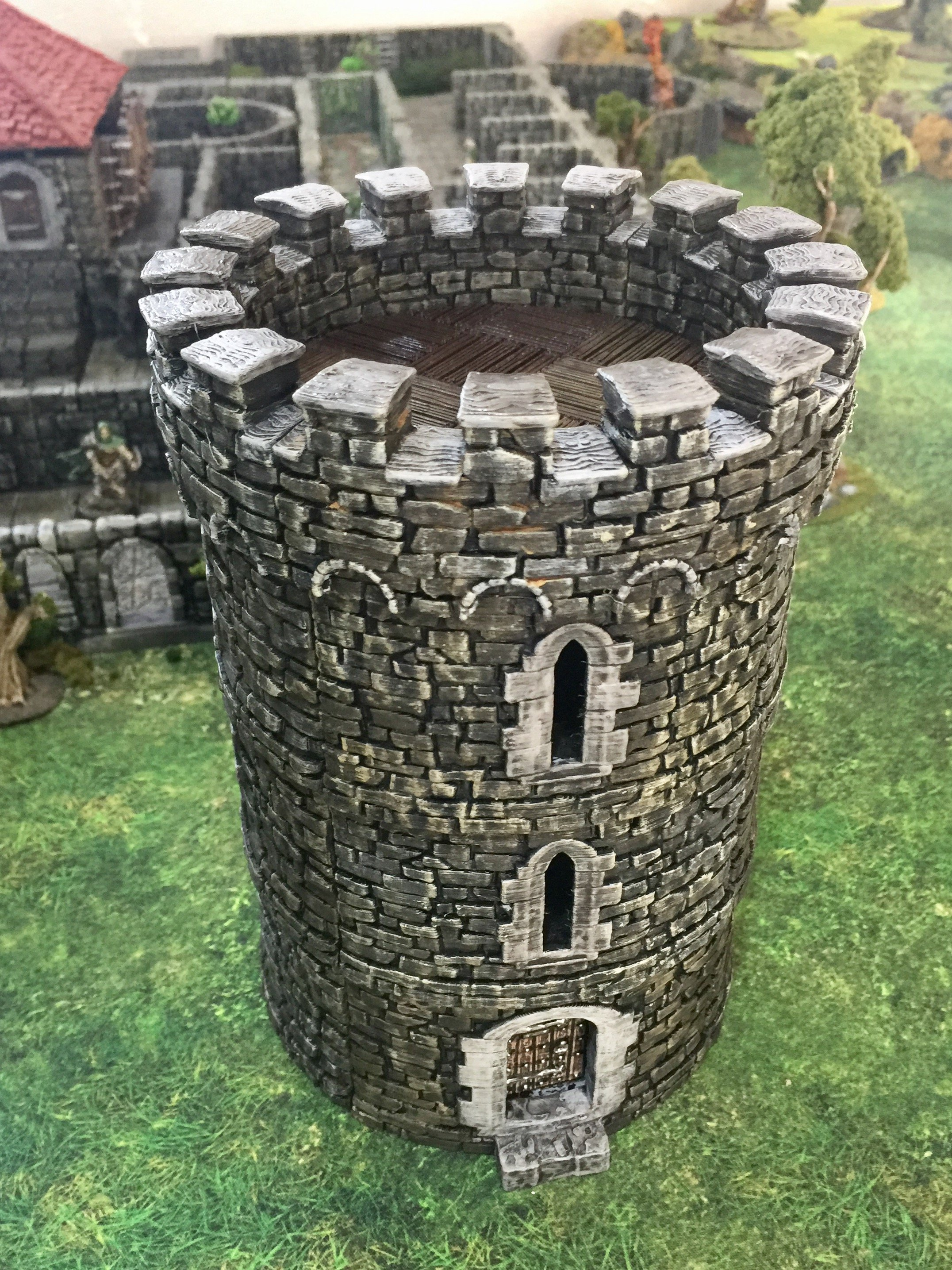 complete 3d printed openlock round castle tower