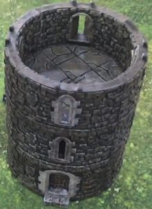 3 layers of round castle tower 3d printed