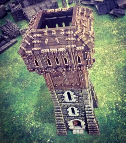 3d printed openlock castle tower with hoarding