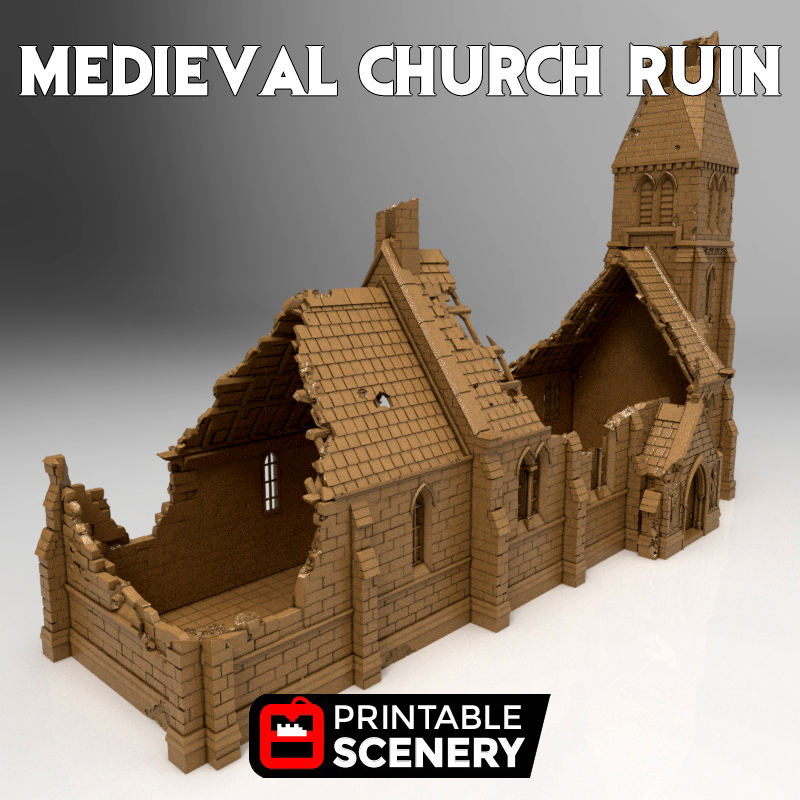 Ruined Medieval Church Printable Scenery