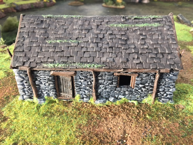 Moss and grass added to painted 3d printed Stone Barn