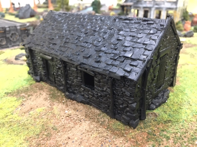 Primer sprayed 3d printed Stone barn