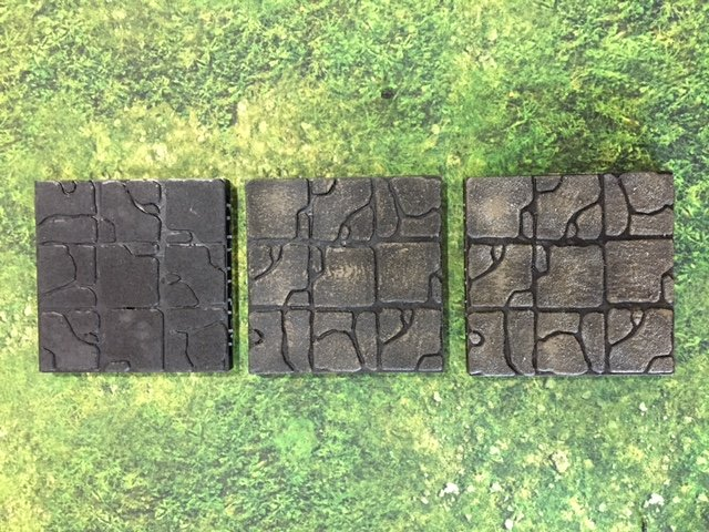 Paint the tiles as per our quick dry brush technique