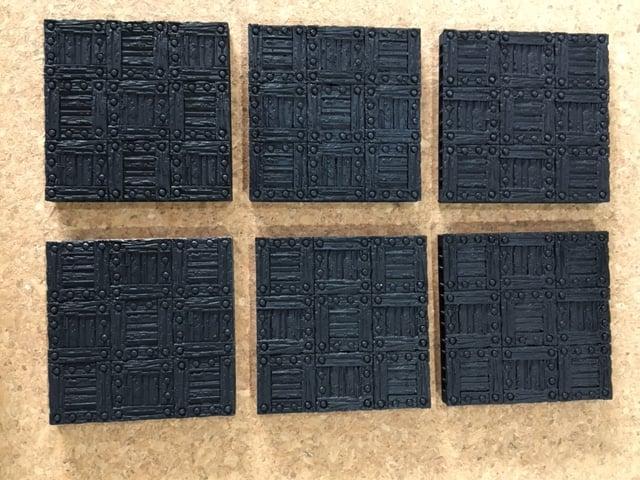 6 unpainted Wooden floor tiles