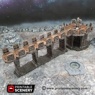 3D printed, sci fi factory, gothic, 40k terrain, OpenLOCK