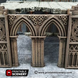 3d printed, gothic cathedral, 40k terrain, nave arches, OpenLOCK