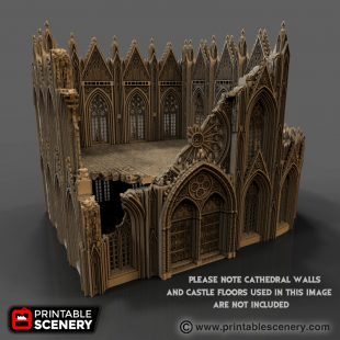 Cathedral Ruins Wargame Printable Scenery