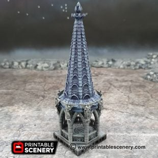 3D printed, gothic cathedral, 40K terrain, bell tower, dungeons and dragons, OpenLOCK