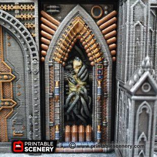 3D printed, Gothic Sci-fi, Sci-fi factory, 40K terrain, gothic future, machine wall