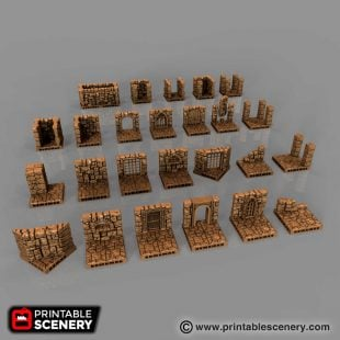 Wall on Floor Style Dungeon Tiles Archives - Printable Scenery