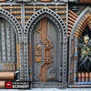 3D printed, Sci-Fi factory, 40K terrain, OpenLOCK, blast door
