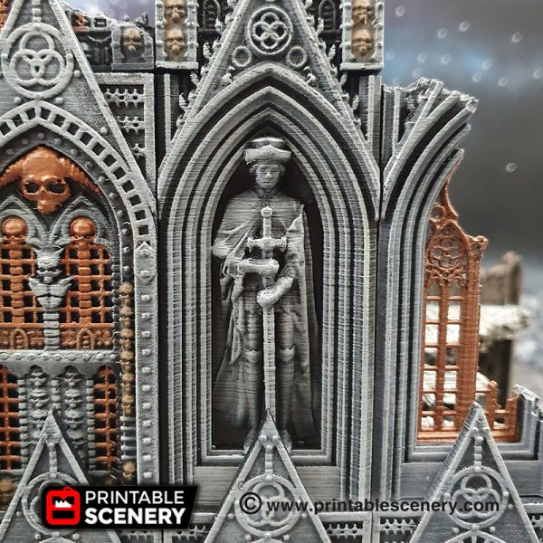 3D printed, gothic cathedral, warhammer 40K, statue
