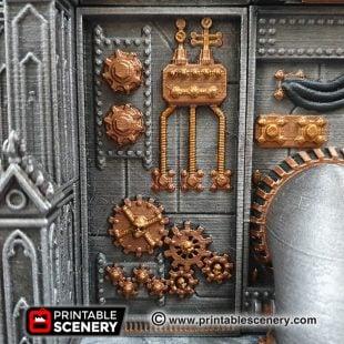3D printed, Sci-fi factory, 40K terrain, OpenLOCK, plasma wall