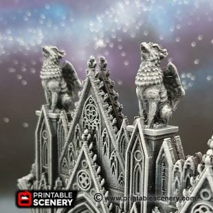 3D printed, gothic cathedral, 40K terrain, gargoyle, grotespue, OpenLOCK