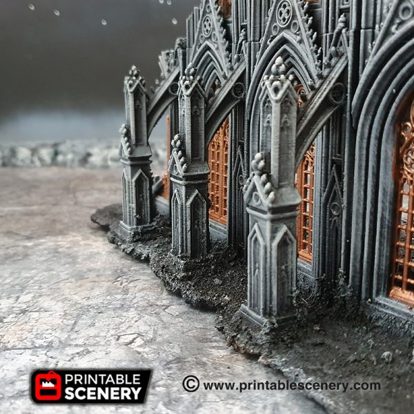 3D printed, gothic cathedral, 40K terrain, flying buttresses, OpenLOCK
