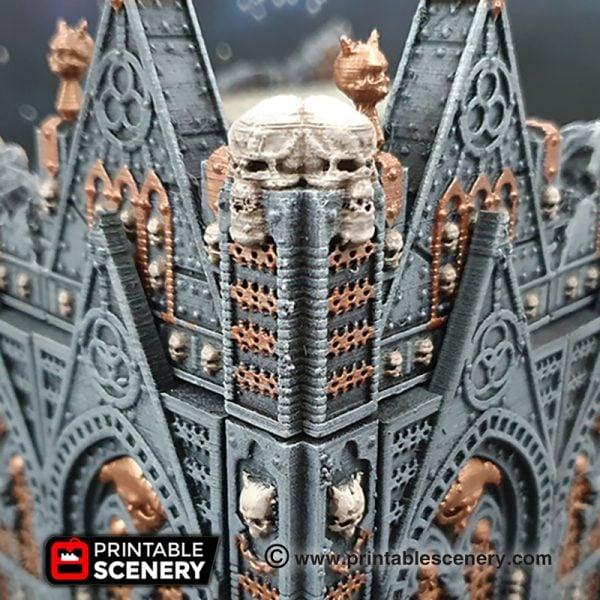 3D printed, gothic cathedral, daemonic, 40K terrain, columns, OpenLOCK
