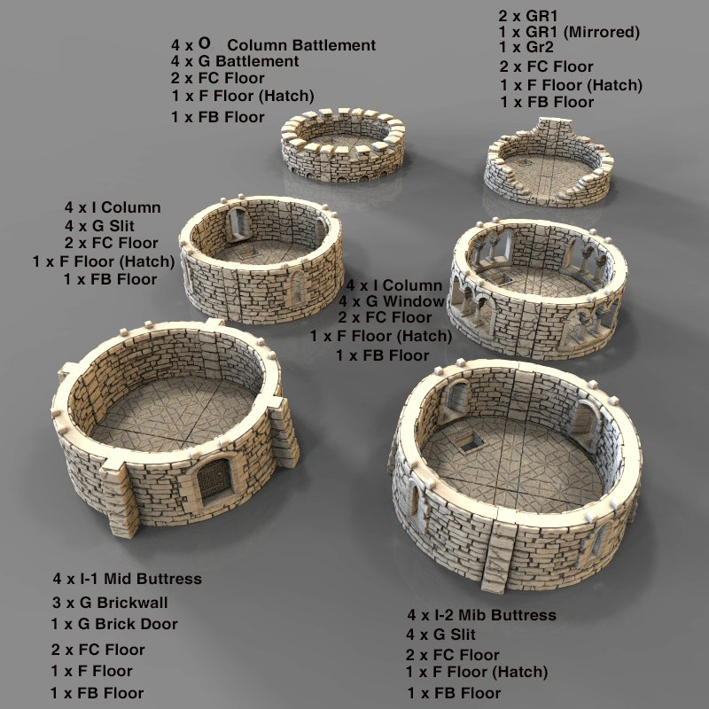 Parts labelled for 3d printed Round castle tower with buttress