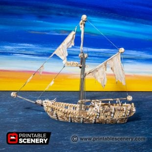 3D Printed Undead Sloop Age of Sigmar Dnd Dungeons and Dragons tabletop games blood and plunder lost islands
