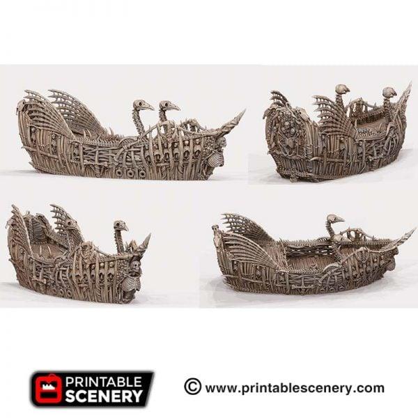 3D Printed Undead Fluyt ship boat bones