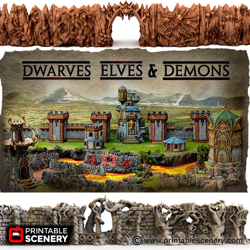 Dwarves , Elves and Demons All in pledge. 3d printable