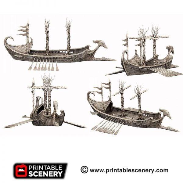 3D printed Dragon Galley Elven boat ship