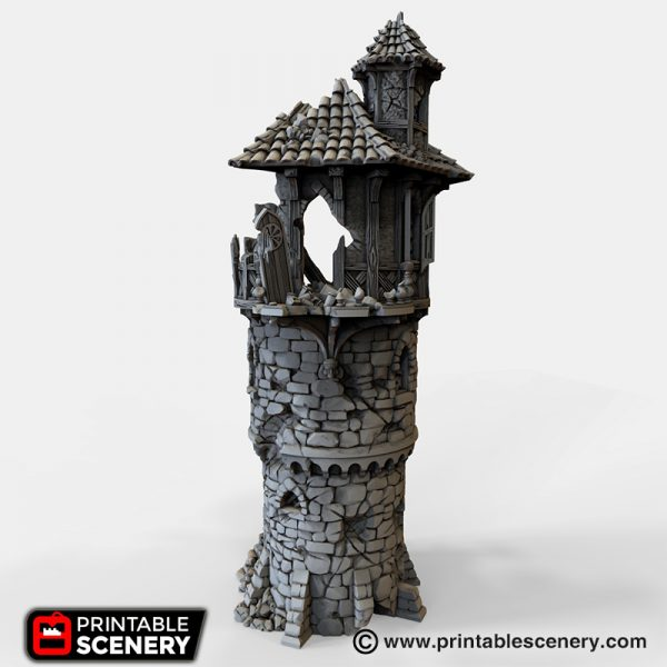 Ruined Wizard Tower 3D printable