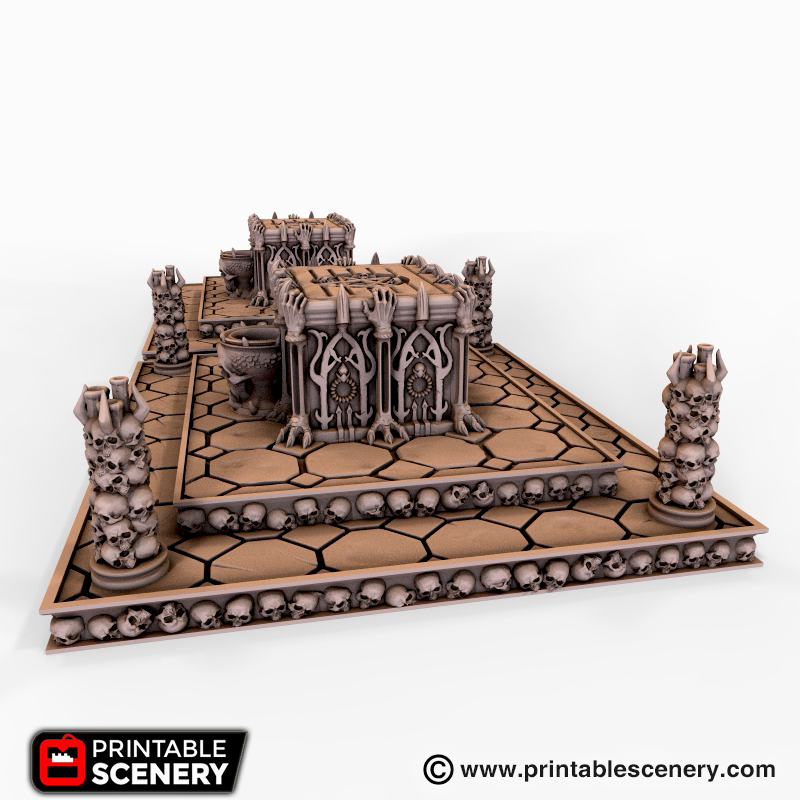 2 Fire Pit and Post Sacrificial Altar for Dungeons and Dragons 28mm Scatter Gaming Terrain Dungeon Terrain Lost Dragons