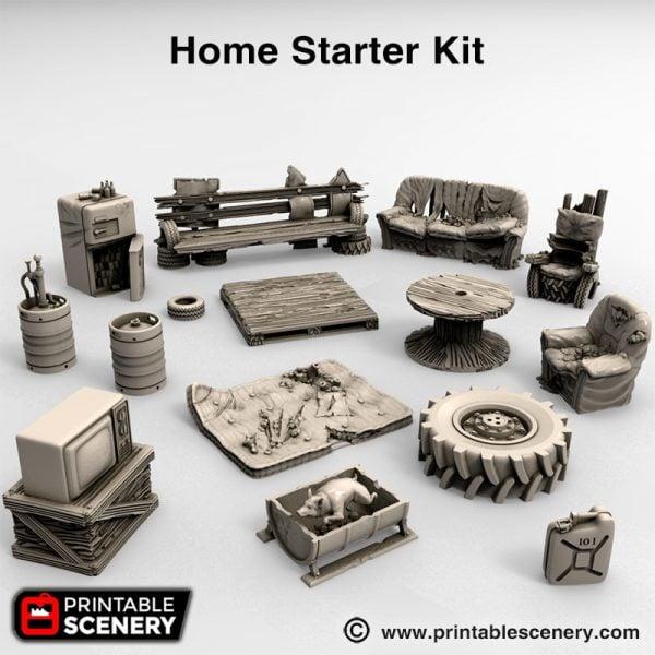 Wasteworld 3d printed home starter kit Wastelands gaslands