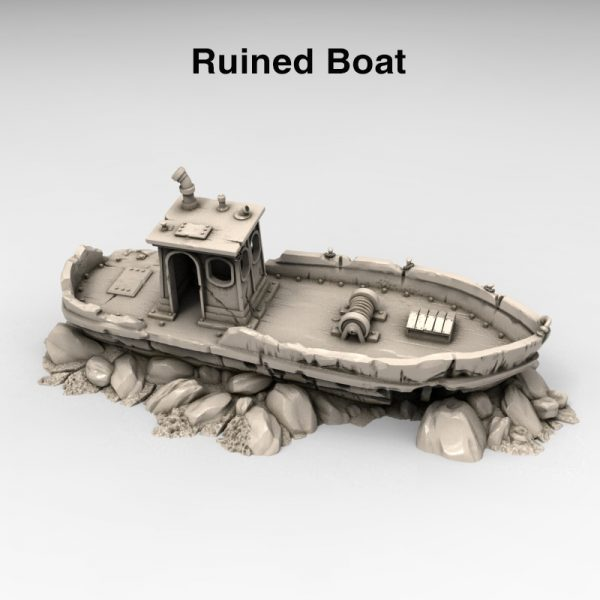 3d print ruined Boat wasteland