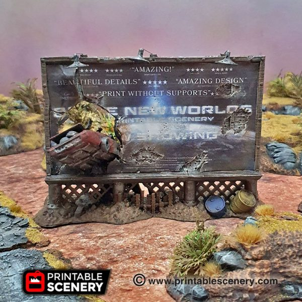 3d Printed Gaslands Fallout Post-Apocalypse Billboards and Signs