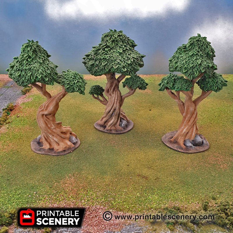 Gnarly Trees with Canopies - Printable Scenery