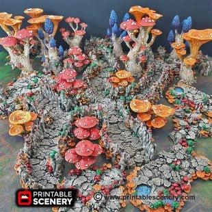 Goblin Grotto Cavern Freeform Dungeons and Dragons RPG 3Dprinted Mushroom Underdark