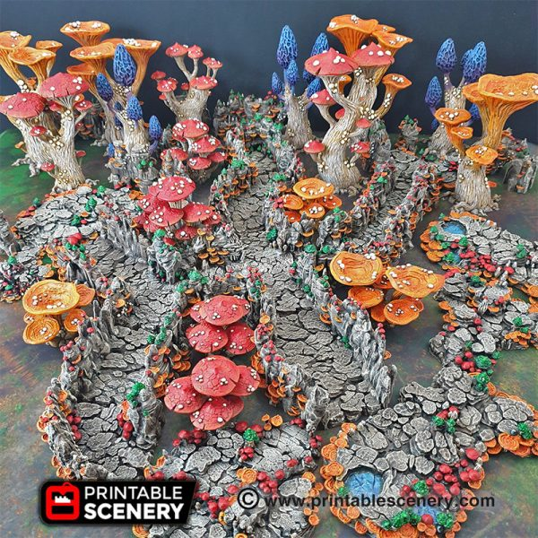 Goblin Grotto Cavern Freeform Dungeons and Dragons RPG 3Dprinted Mushroom Underdark
