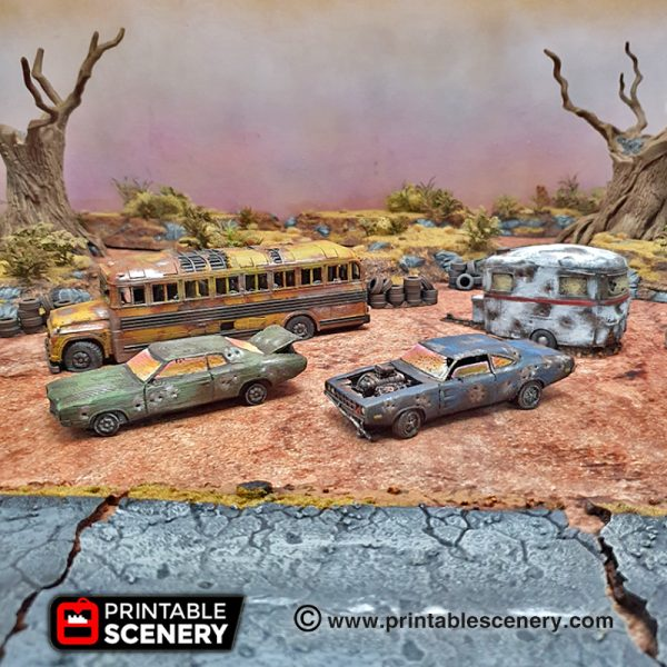 3d Printed Gaslands Fallout Post-Apocalypse Abandoned Vehicles
