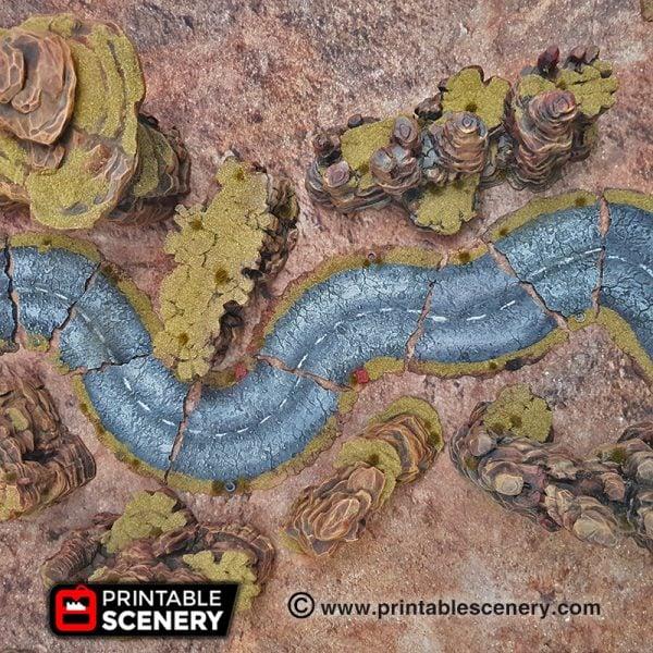 3d Modular Printable Desert Roads Mad max Post-apocalypse