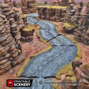 3d Modular Printable Desert Roads Mad max Post-apocalypse
