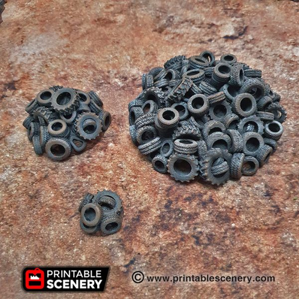 3d Modular Printable Mad max Post-apocalypse Gaslands Tire Obstacles