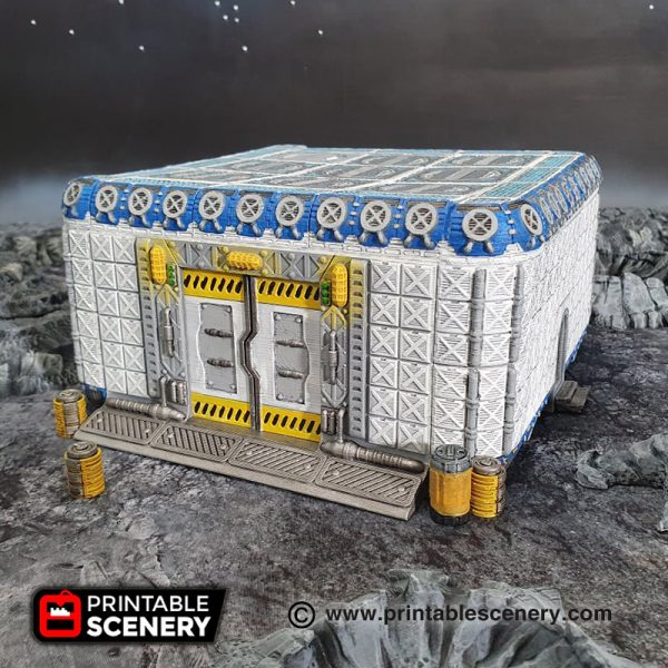 3d Printable sci-fi 40k infinity moon base mech bay external