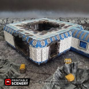 3d Printable sci-fi 40k infinity moonbase damaged module