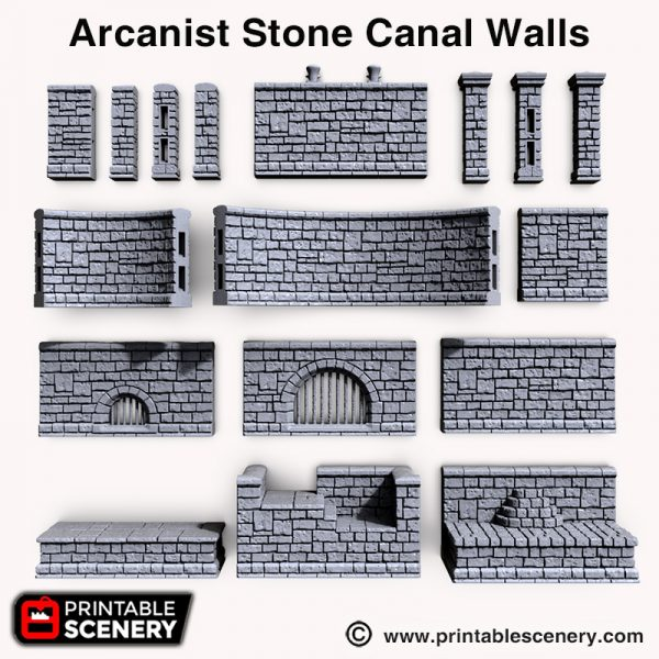 Arcanists 3d print Stone Canal walls