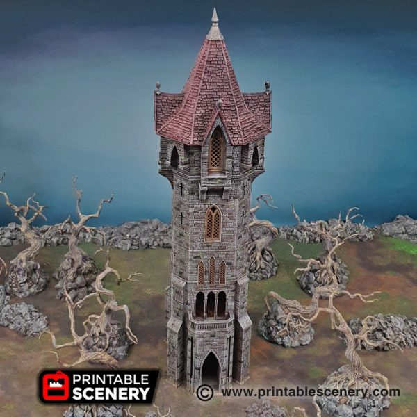 3D printed Arcanist's Tower Warhammer Dungeons and Dragons Frostgrave