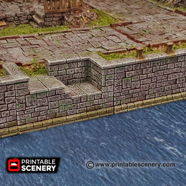 3D printed Arcanist's Stone Canal Walls Warhammer Dungeons and Dragons Frostgrave