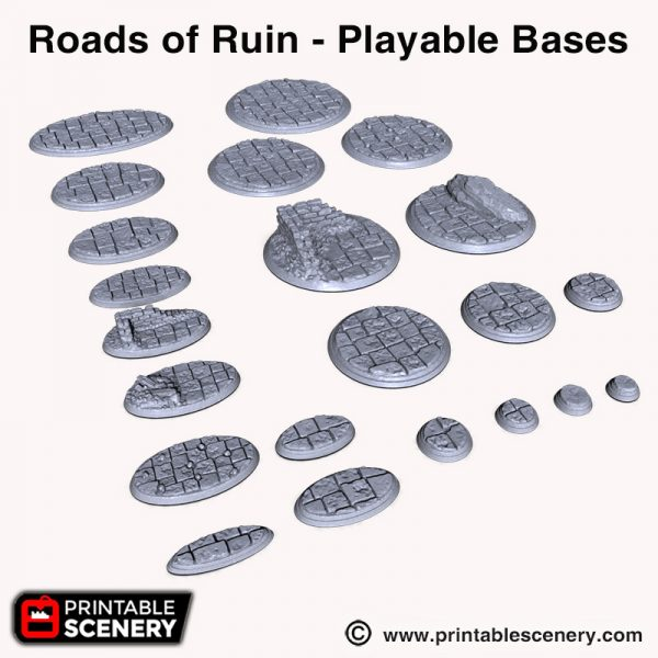 Roads of ruin 3d printed playable bases