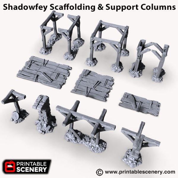 Shadowfey Scaffolding and support columns 3d printed ruins
