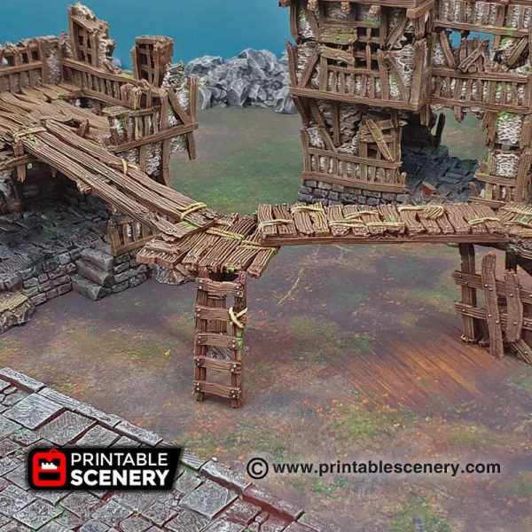 3D printed gangplanks ladders and stairs Warhammer Dungeons and Dragons Frostgrave mordheim