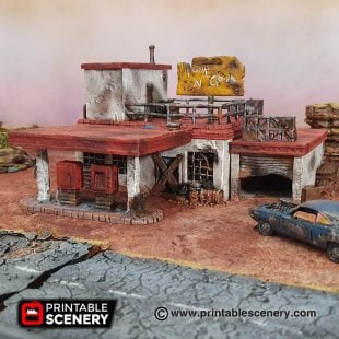 Wasteworld Derelict gas station Gaslands fallout wasteland warfare Wasteworld